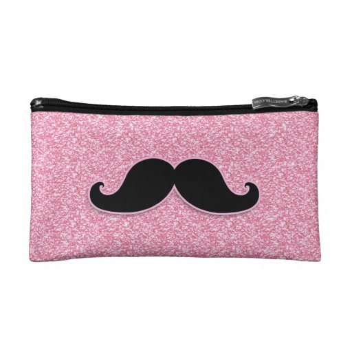 GIRLY BLACK MUSTACHE PINK GLITTER PRINTED COSMETIC BAGS