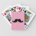 GIRLY BLACK MUSTACHE PINK GLITTER PRINTED BICYCLE PLAYING CARDS