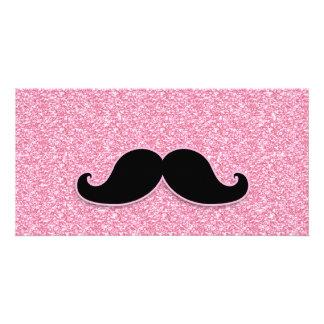 GIRLY BLACK MUSTACHE PINK GLITTER PRINTED CARD