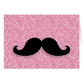 GIRLY BLACK MUSTACHE PINK GLITTER PRINTED GREETING CARDS