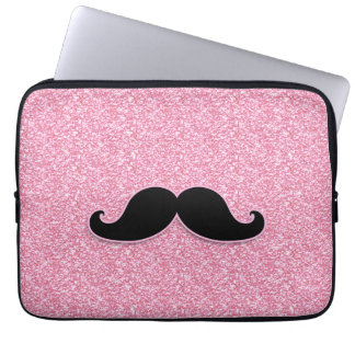 GIRLY BLACK MUSTACHE PINK GLITTER PRINTED COMPUTER SLEEVES