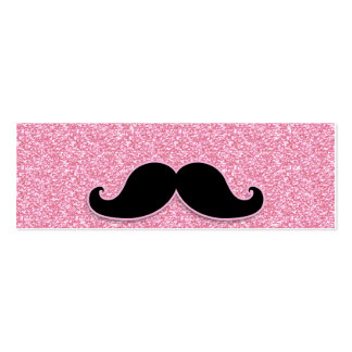 GIRLY BLACK MUSTACHE PINK GLITTER PRINTED Double-Sided MINI BUSINESS CARDS (Pack OF 20)