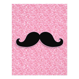 GIRLY BLACK MUSTACHE PINK GLITTER PRINTED FLYER