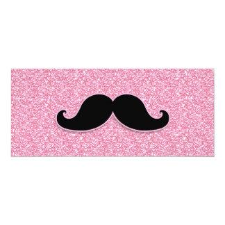 GIRLY BLACK MUSTACHE PINK GLITTER PRINTED 4X9.25 PAPER INVITATION CARD