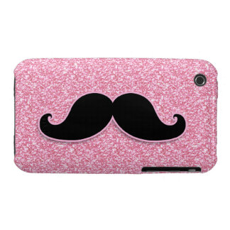 GIRLY BLACK MUSTACHE PINK GLITTER PRINTED iPhone 3 COVERS