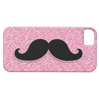 GIRLY BLACK MUSTACHE PINK GLITTER PRINTED iPhone SE/5/5s CASE