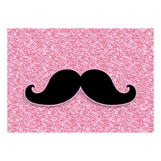 GIRLY BLACK MUSTACHE PINK GLITTER PRINTED LARGE BUSINESS CARDS (Pack OF 100)