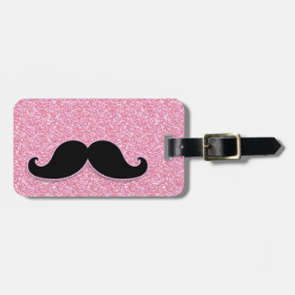GIRLY BLACK MUSTACHE PINK GLITTER PRINTED BAG TAGS