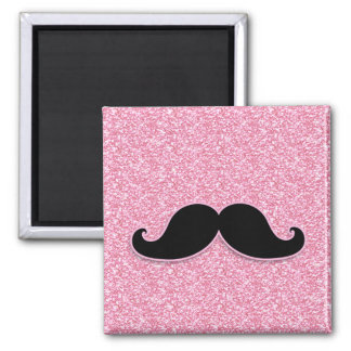 GIRLY BLACK MUSTACHE PINK GLITTER PRINTED MAGNET