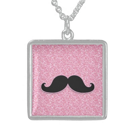 GIRLY BLACK MUSTACHE PINK GLITTER PRINTED NECKLACES