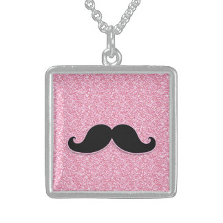 GIRLY BLACK MUSTACHE PINK GLITTER PRINTED SQUARE PENDANT NECKLACE