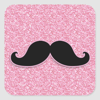 GIRLY BLACK MUSTACHE PINK GLITTER PRINTED SQUARE STICKER