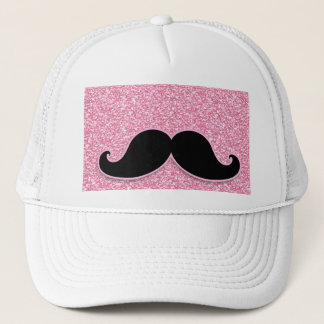 GIRLY BLACK MUSTACHE PINK GLITTER PRINTED TRUCKER HAT