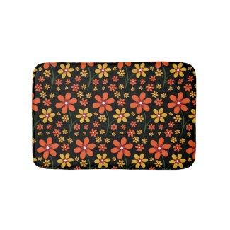 Girly Black Orange Yellow Floral Bath Mats