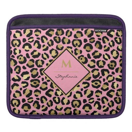 Girly Black Pink and Gold Leopard Print |Monogram iPad Sleeve