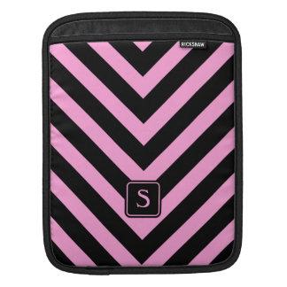 Girly black pink chevron zigzag pattern monogram iPad sleeve