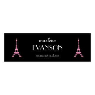 Girly Black,Pink, White French Style Eiffel Towers Double-Sided Mini Business Cards (Pack Of 20)