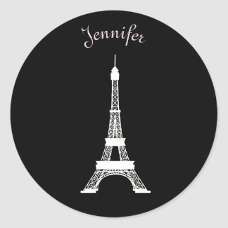 Girly Black,Pink, White French Style Eiffel Towers Classic Round Sticker