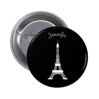 Girly Black,Pink, White French Style Eiffel Towers Pinback Button