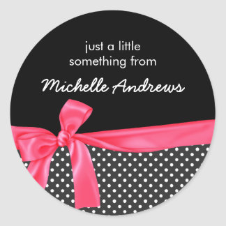 Girly Black Polka Dots & Neon Pink Bow Gift Label