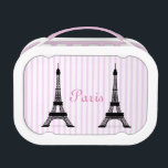 """Girly Black White and Pink French Eiffel Towers Lunch Box<br><div class=""""desc"""">This chic,  feminine design features black images of the Eiffel Tower on a pretty,  striped pink background. The word Paris appears in elegant pink French lettering. An easy way to add the style of Paris to your lunch!</div>"""