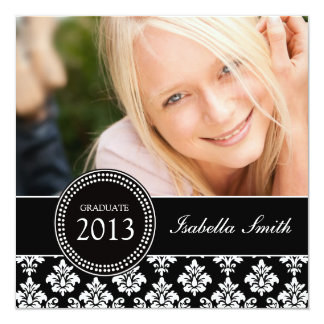 GIRLY BLACK WHITE DAMASK GRADUATE PARTY CARD