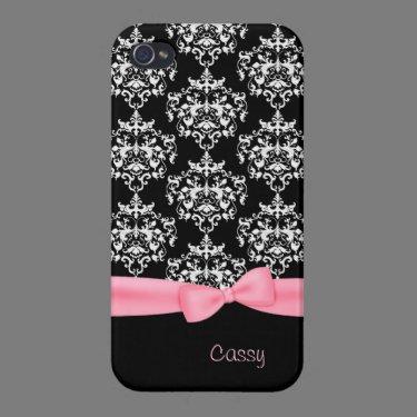 Girly Black & White Damask iPhone 4 Case