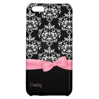 Girly Black & White Damask iPhone 5C Case