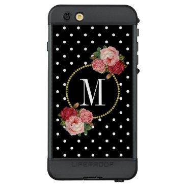 Girly Black White Dot Vintage Floral Gold Monogram LifeProof NÜÜD iPhone 6s Plus Case
