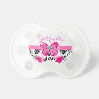 Girly Black & White Floral Damasks Pink Bow Pacifier