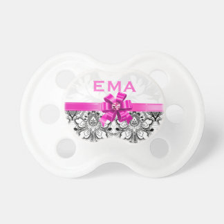 Girly Black & White Floral Lace & Pink Bow Pacifier
