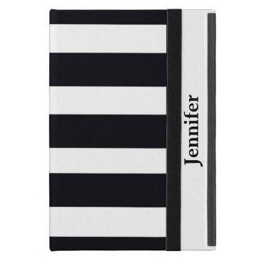 Girly Black & White Striped iPad Case Personalized