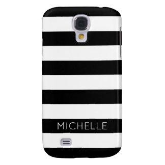 Girly Black White Stripes Custom Name Monogram Galaxy S4 Cover