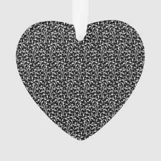 Girly Black White Swirls Pattern Ornament