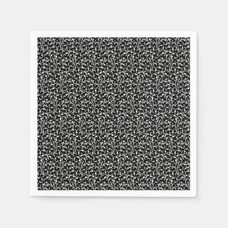 Girly Black White Swirls Pattern Paper Napkin