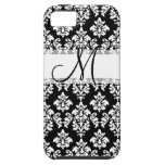 Girly Black White Vintage Damask Your Monogram Case For iPhone 5/5S