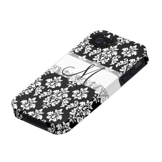 Girly Black White Vintage Damask Your Monogram Case-Mate iPhone 4 Case
