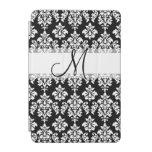 Girly Black White Vintage Damask Your Monogram iPad Mini Cover