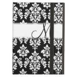 Girly Black White Vintage Damask Your Monogram iPad Air Cases