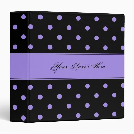 Girly Black with Purple Polka Dots Binder