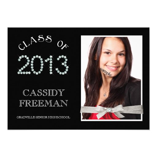 Girly Bling Diamond Grad 2013 Photo and Ribbon Invitation