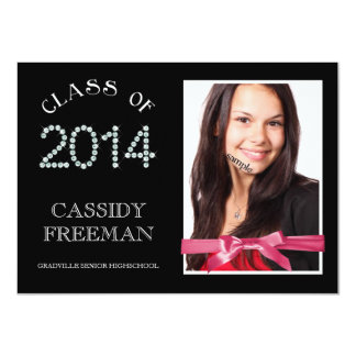 Girly Bling Diamond Grad 2014 Photo and Ribbon Card