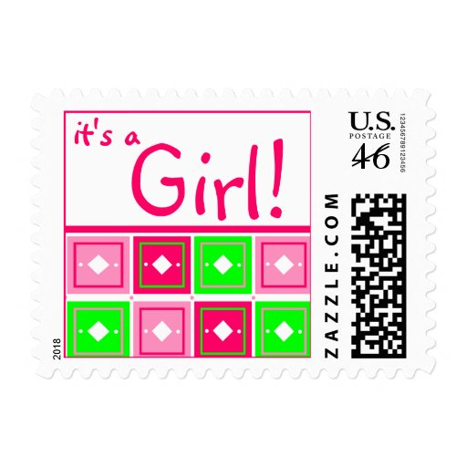 Girly Blocks Baby Girl Postage