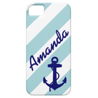 GIRLY BLUE ANCHOR BLUE STRIPES YOUR NAME iPhone 5 COVERS