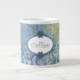 Girly Blue and Gold Damask Pattern Giant Coffee Mug
