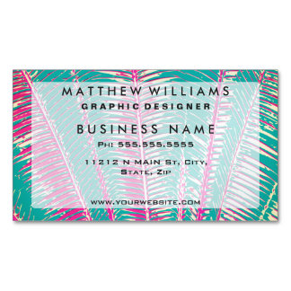 Girly Blue and Pink Tropical Palm Fronds Magnetic Business Card