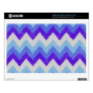 Girly Blue and White Bohemian Chevron Pattern Netbook Skins