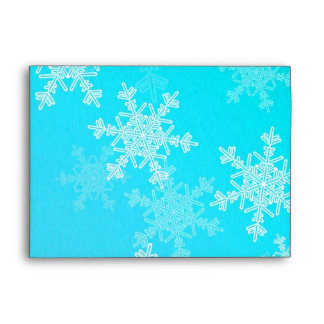 Girly blue and white Christmas snowflakes Envelope