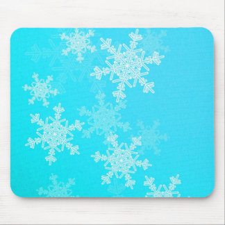 Girly blue and white Christmas snowflakes Mouse Pad