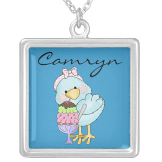 Girly Blue Bird Art With Ice Cream Dessert Cute Silver Plated Necklace